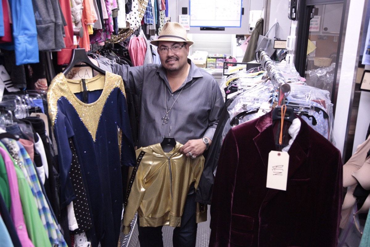 Salvador Pérez shows off his custom made Barden Bellas outfits (and Brooks Brothers velvet blazer made especially for the Trebles, at right). Photo: Richard Cartwright
