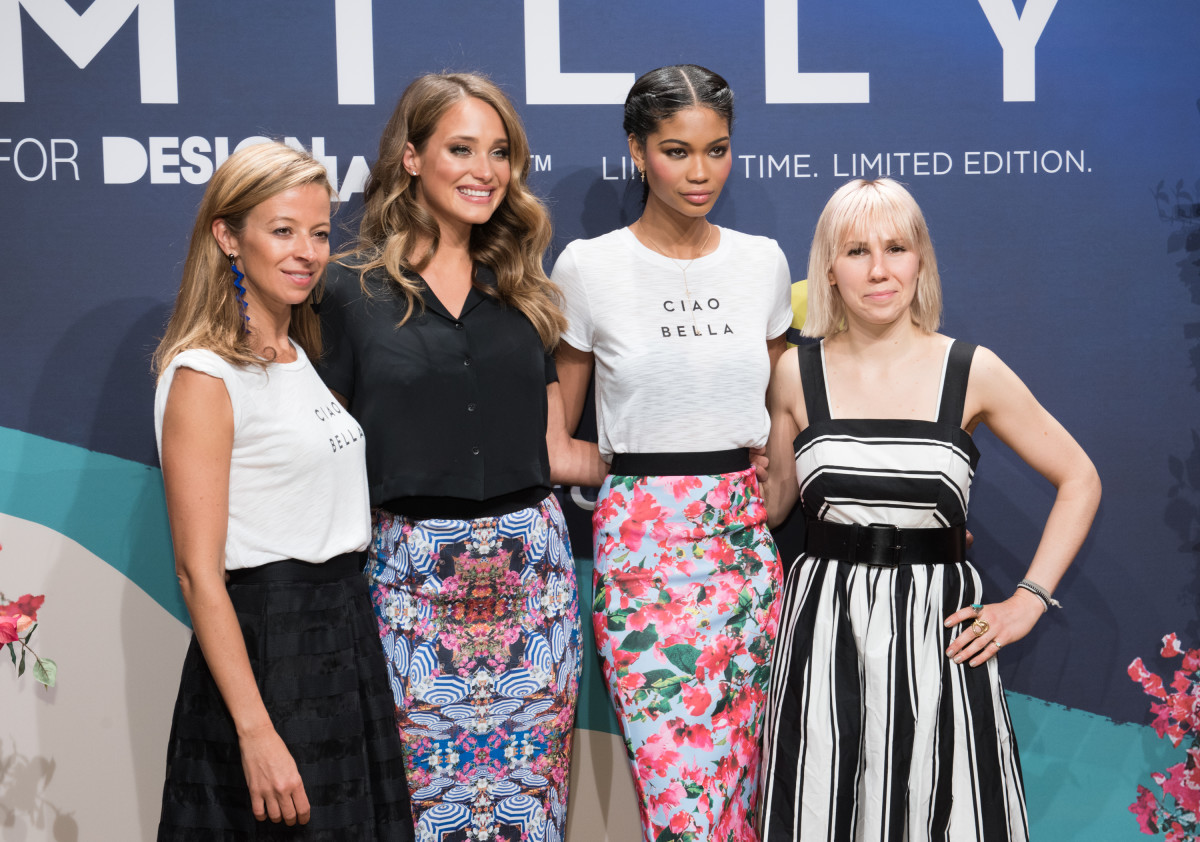 Designer Michelle Smith, Hannah Davis, Chanel Iman and Zosia Mamet at the Milly For DesigNation Kohls launch in April. Photo: Noam Galai/Getty Images