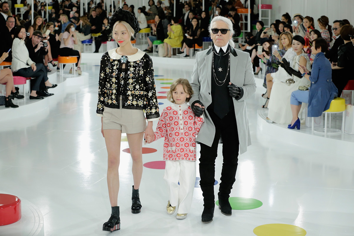 Soo Joo Park, Hudson Kroenig and Karl Lagerfeld at Chanel's resort 2015/2016 show. Photo: Han Myung-Gu/Getty Images