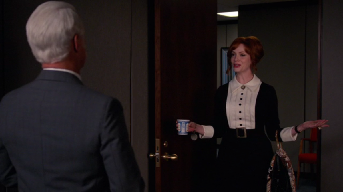 Joan takes some advice from Roger. Screengrab: AMC
