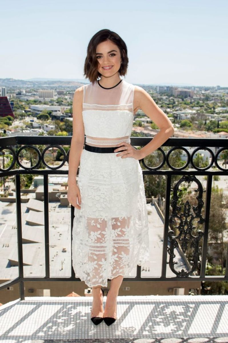 Lucy Hale at an event in April 2015 wearing Self-Portrait. Photo: Rob Loud/Getty Images