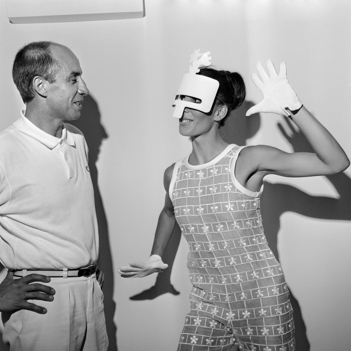 André Courrèges with a model wearing a a 1967/1968 couture look. Photo: AFP/Getty Images