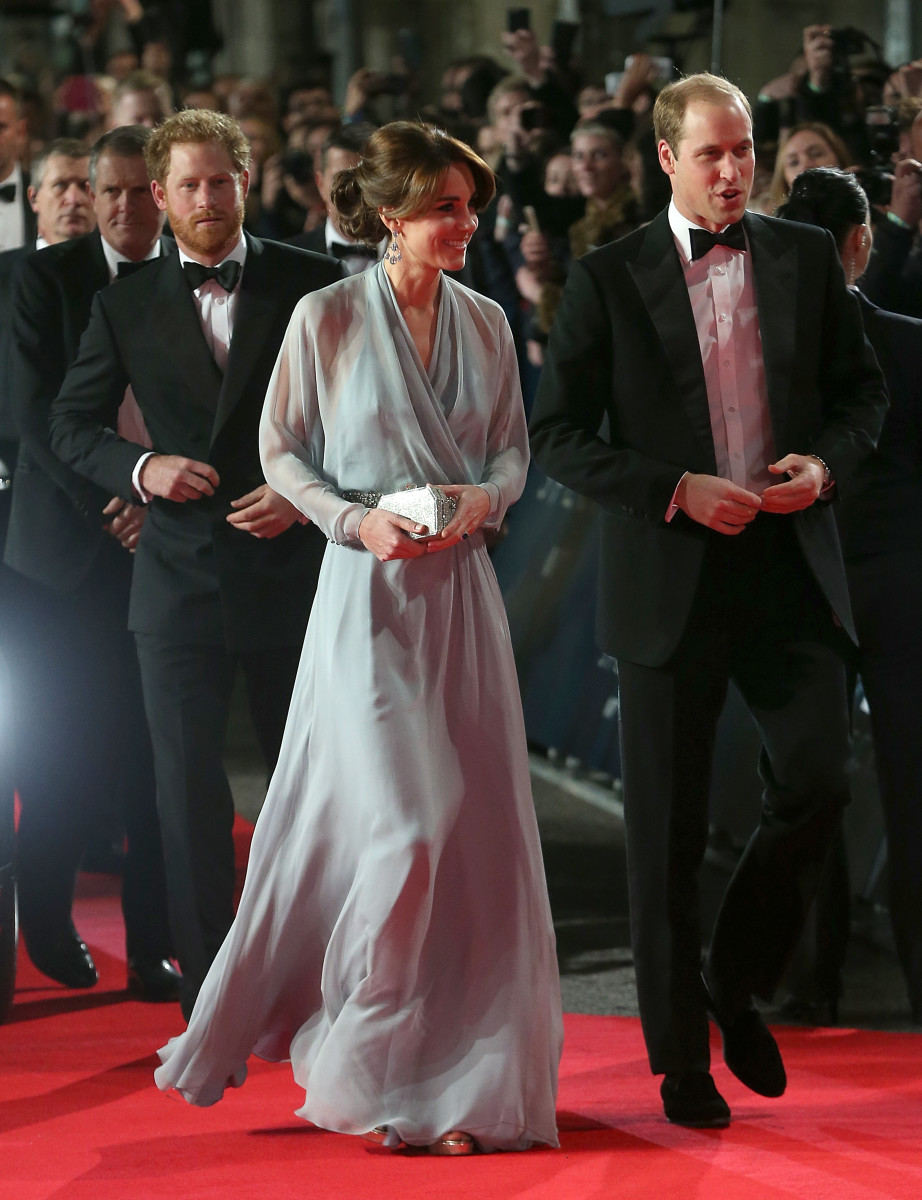 Prince Harry and Prince William accompany Kate Middleton in Jenny Packham to the 'Spectre' world premiere in London on Monday. Photo: Danny Martindale/WireImage