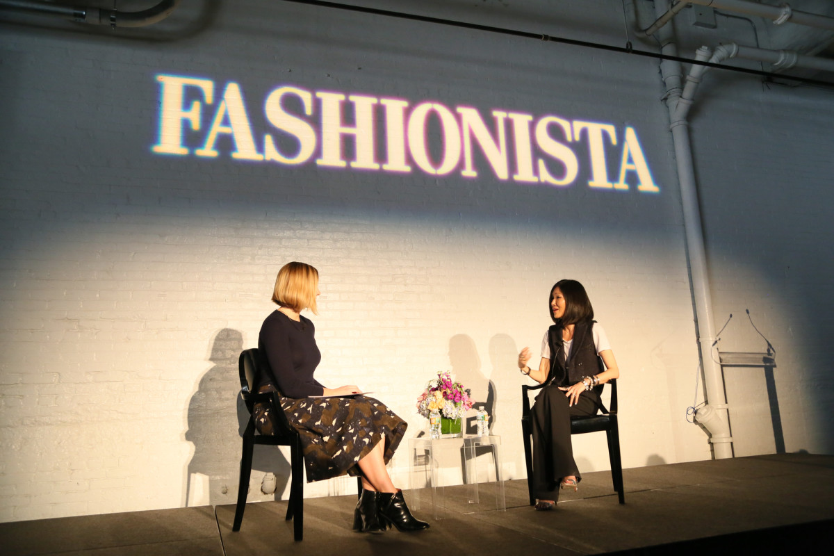"Fashionista's Lauren Indvik and designer Marissa Webb at Fashionista's ""How to Make It in Fashion"" conference on Friday. Photo: Fashionista"