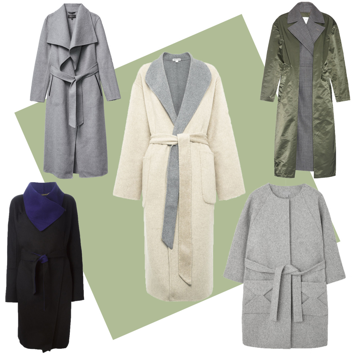 TOP LEFT; Mackage Mai coat, $750, available at Aritzia and Mackage; CENTER: Whistles split seam reversible coat, $470, available at Whistles; TOP RIGHT: Toga contrast-layer belted-front coat, $823, available at Matches Fashion; BOTTOM LEFT: Diane Von Furstenberg wrap coat, $985.20, available at Farfetch; BOTTOM RIGHT: Cos envelope pocket coat, $275, available at Cos.