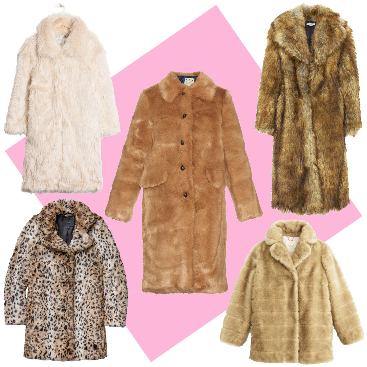 TOP LEFT: & Other Stories faux fur coat, $275, available at & Other Stories; CENTER: Trademark faux fur coat, $698, available at Trademark; TOP RIGHT: Whistles wolfie faux fur coat, $560, available at Whistles; BOTTOM LEFT: Aritzia Beckledge coat, $198, available at Aritzia; BOTTOM RIGHT: Kate Spade blonde mink coat, $798, available at Kate Spade.