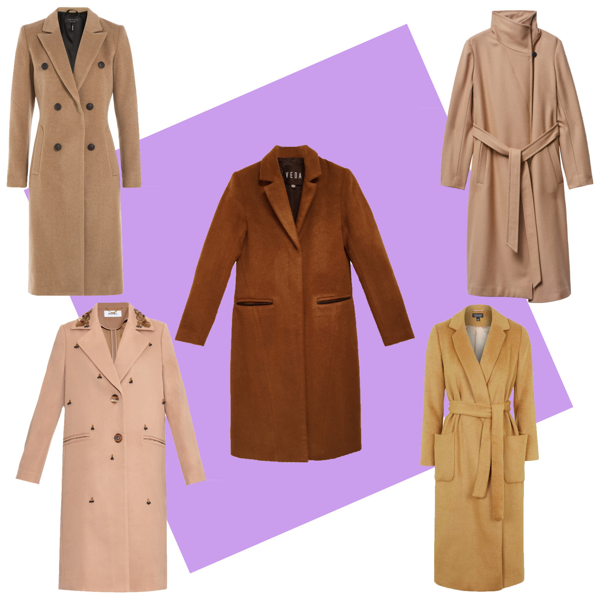 TOP LEFT: Rag & Bone camel coat, $995, available at Stylebop; CENTER: Veda wool coat camel, $770, available at Veda; TOP RIGHT: Babton Jacoby coat, $295, available at Aritzia; BOTTOM LEFT: Muveil embellished twill coat, $882, available at Matches Fashion; BOTTOM RIGHT: Topshop belted wool blend coat, $170, available at Topshop.