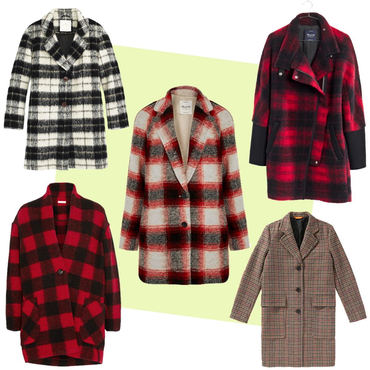 TOP LEFT: Kate Spade woodland check bow coat, $798, available at Kate Spade; CENTER: Madewell plaid wool-blend coat, $280, available at Net-a-Porter; TOP RIGHT: Madewell city grid coat in plaid, $348, available at Madewell; BOTTOM LEFT: Etoile Isabel Marant plaid coat, $530, available at Net-a-Porter; BOTTOM RIGHT: Joe Fresh plaid coat, $149, available at Joe Fresh.