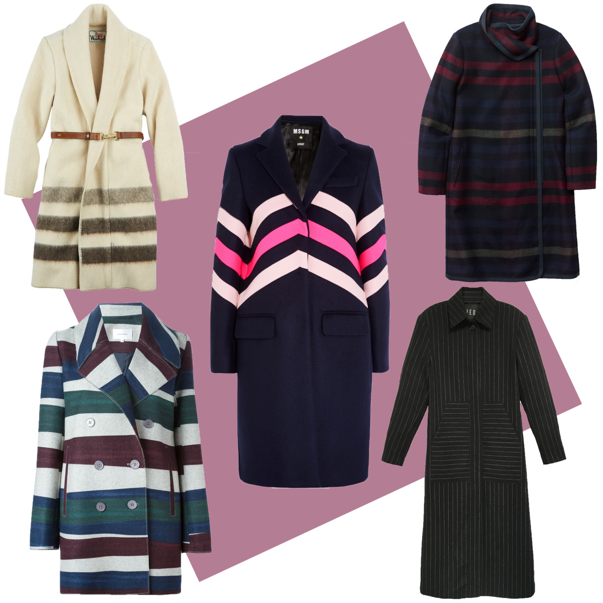 TOP LEFT: Woolrich blanket coat, $550, available at Woolrich; CENTER: MSGM chevron-paneled coat, $820, available at Net-a-Porter; TOP RIGHT: Aritzia Cormac jacket, $375, available at Aritzia; BOTTOM LEFT: Carven striped short coat, $972.82, available at Farfetch; BOTTOM RIGHT: Veda chalked pinstripe coat, $855, available at Veda.