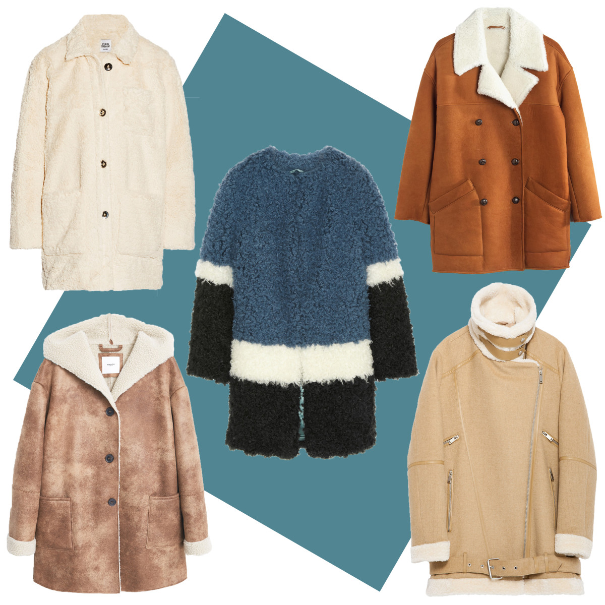 TOP LEFT: Opening Ceremony faux shearling coat, $645, available at Net-a-Porter; CENTER: Shrimps color-block faux shearling coat, $795, available at Net-a-Porter; TOP RIGHT: Madewell real shearling coat, $998, available at Madewell; BOTTOM LEFT: Mango faux shearling coat, $119.99, available at Mango; BOTTOM RIGHT: Zara oversized fleece jacket, $189, available at Zara.