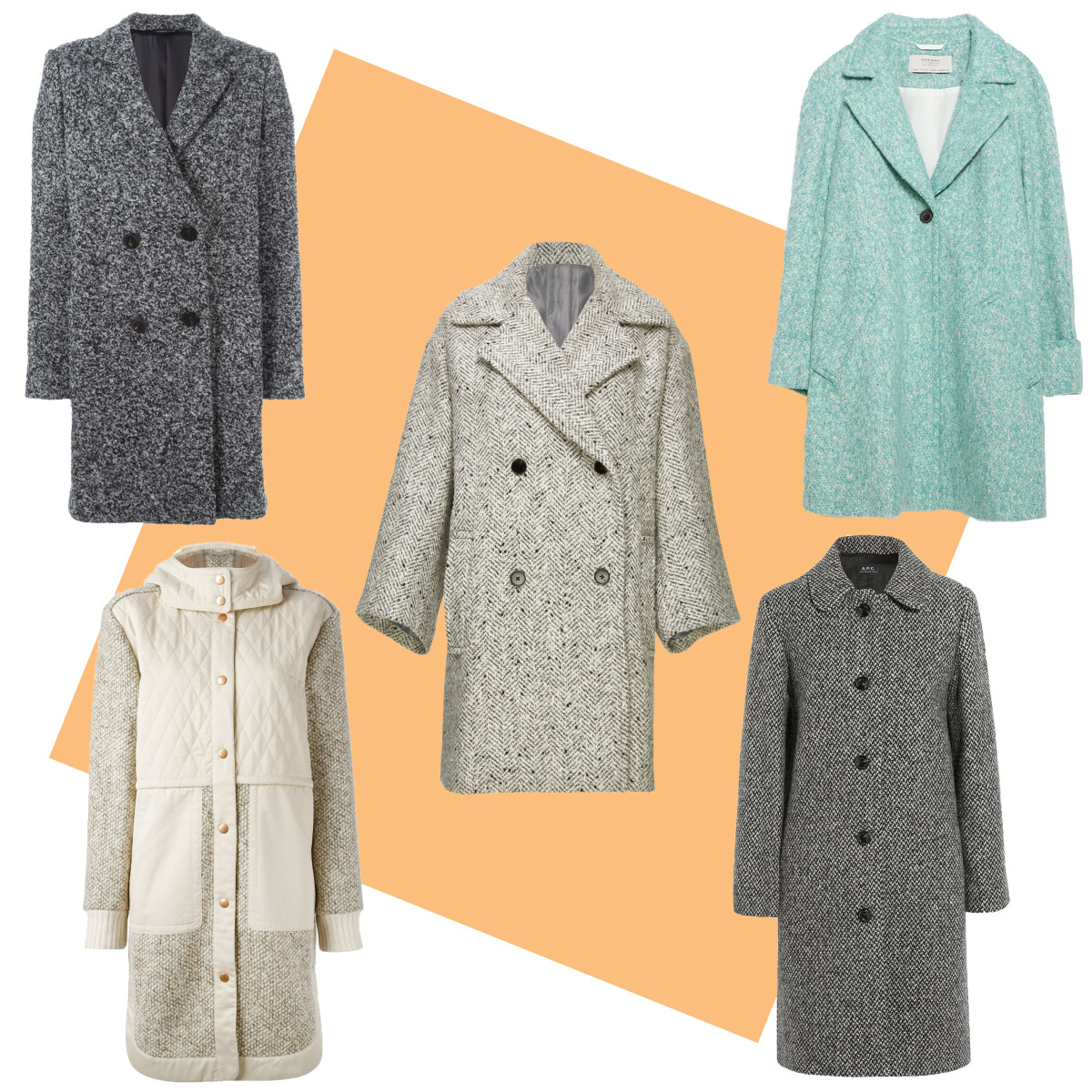 TOP LEFT: Tonella double breasted coat, $879.87, available at Farfetch; CENTER: Vince herringbone peacoat, $725, available at Vince; TOP RIGHT: Zara wool coat, $149, available at Zara; BOTTOM LEFT: See by Chloe paneled hooded coat, $886.20, available at Farfetch; BOTTOM RIGHT: A.P.C. peel wool-blend tweed coat, $575, available at Net-a-Porter.