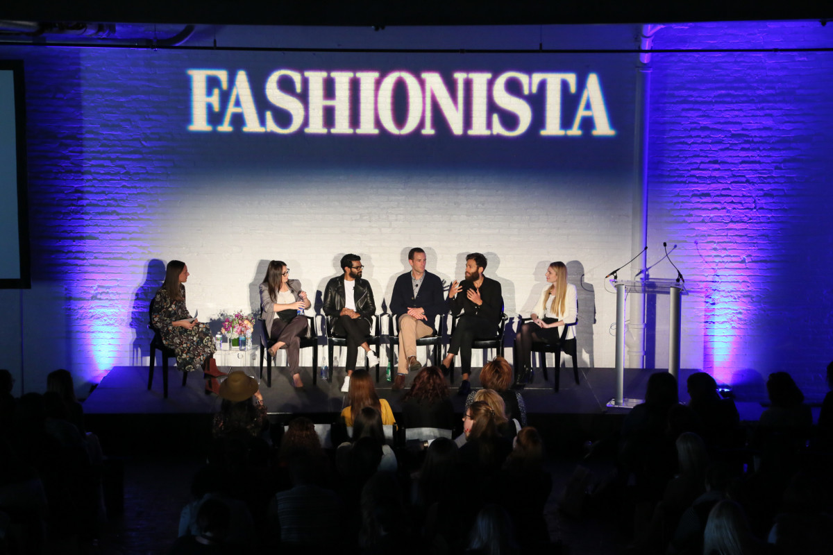 Fashionista editor Maura Brannigan with the founders of Stowaway, The Arrivals, Tracksmith, Jack Erwin and Ringly. Photo: Fashionista