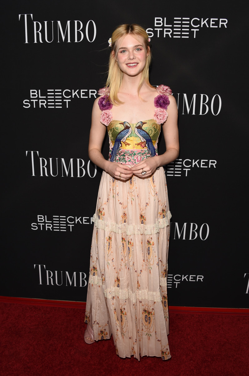 Elle Fanning in Gucci at the 'Trumbo' premiere in Los Angeles. Photo: Jason Merritt/Getty Images