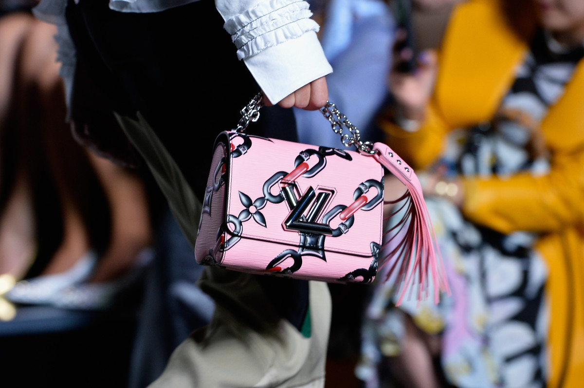 A Louis Vuitton purse on the runway. Photo: Pascal le Segretain/Getty Images