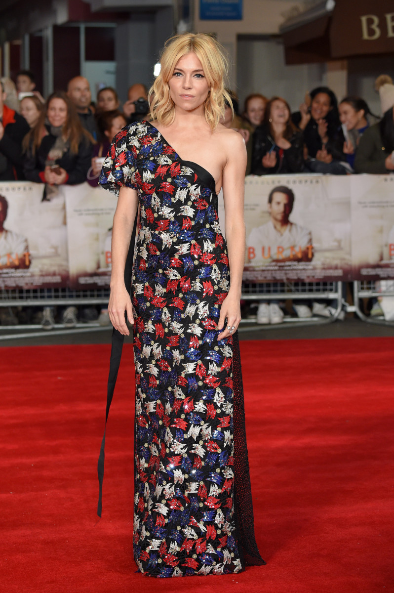 Sienna Miller in Marc Jacobs at the London premiere of 'Burnt' on Wednesday. Photo Karwai Tang/WireImage