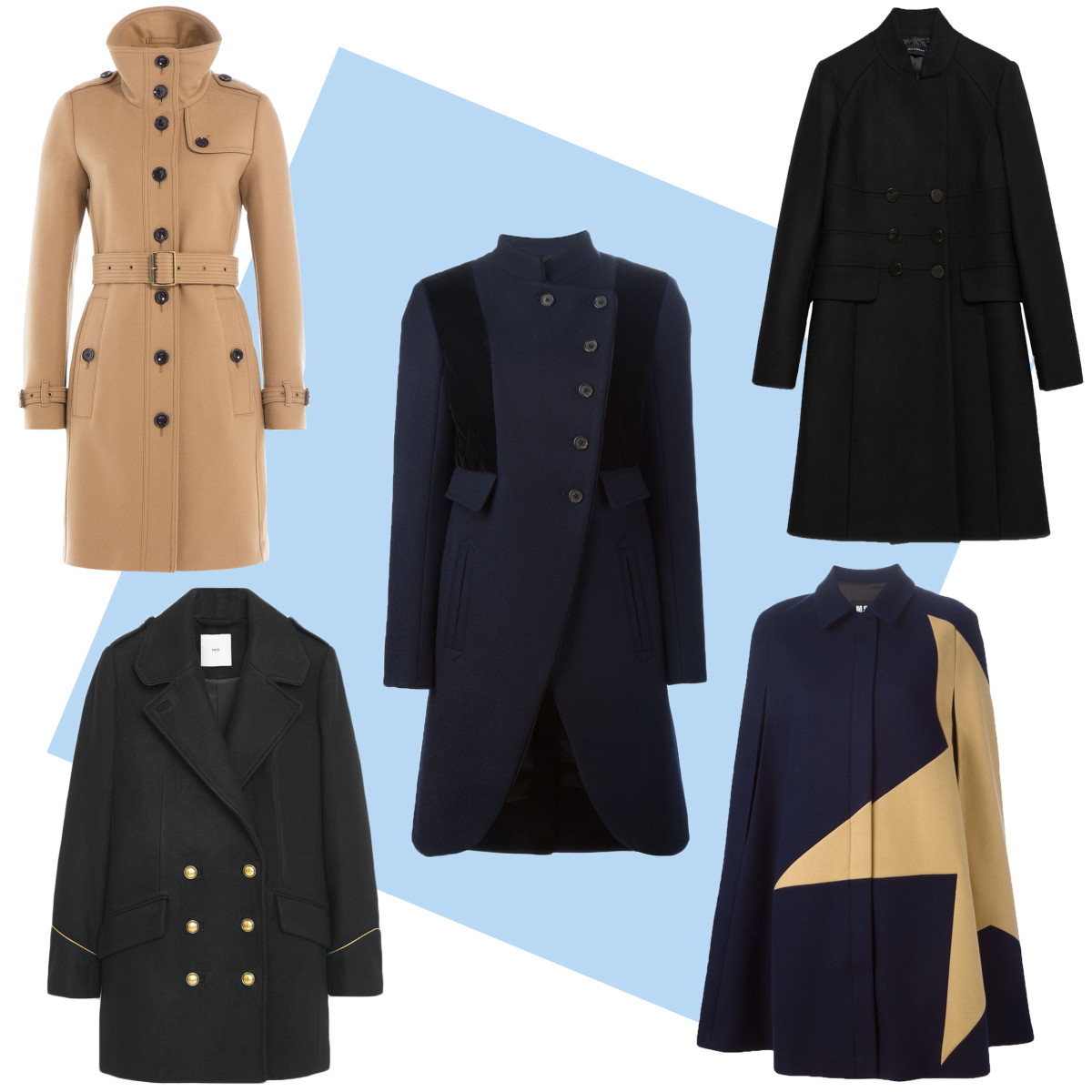 TOP LEFT: Burberry Brit virgin wool twill trench coat with cashmere, $1,235, available at Stylebop; CENTER: Marc by Marc Jacobs military coat, $1,195.87, available at Farfetch; TOP RIGHT: Zara tailored coat, $189, available at Zara; BOTTOM LEFT: Mango double-breasted wool coat, $129.99, available at Mango; BOTTOM RIGHT: MSGM two-tone cape, $729.39, available at Farfetch.