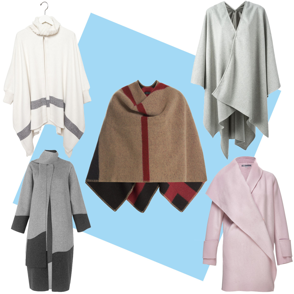 TOP LEFT: Apiece Apart neck knit poncho, $720, available at Apiece Apart; CENTER: Burberry Prorsum check blanket, $1,495, available at Stylebop; TOP RIGHT: Golden Goose Deluxe poncho coat, $500, available at Farfetch; BOTTOM LEFT: Manning color block coat, $560, available at Whistles; BOTTOM RIGHT: Vince drape collar coat, $675, available at Bloomingdale's.