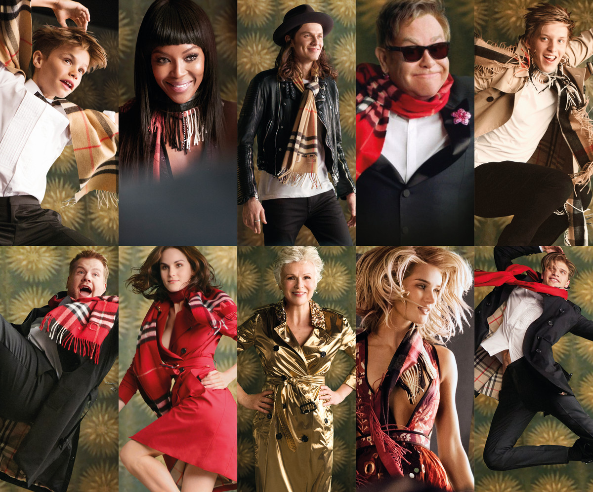 The cast of the Burberry Festive Film, from left to right starting on the top row: Romeo Beckham, Naomi Campbell, James Bay, Elton John, George Ezra, James Corden, Michelle Dockery, Julie Walters, Rosie Huntington-Whiteley and Toby Huntington-Whiteley. Photo: Burberry
