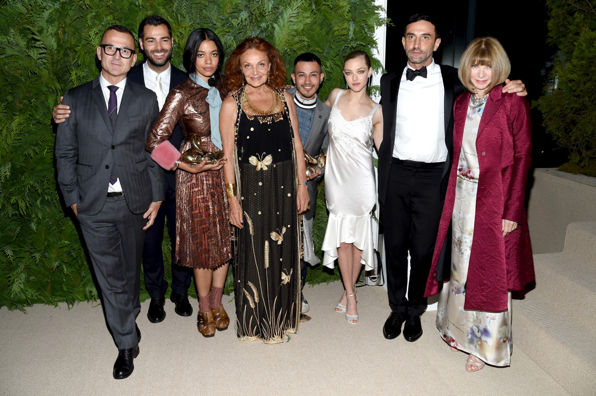 Steven Kolb, Jonathan Simkhai, Aurora James, Diane von Furstenberg, Rio Uribe, Amanda Seyfried, Riccardo Tisci and Anna Wintour. Photo: Nicholas Hunt/Getty Images)