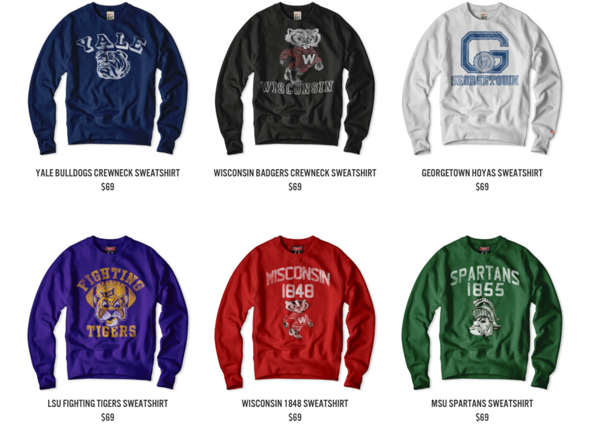 A selection of college-branded sweatshirts for sale on Tailgate's website. Screengrab: Tailgate