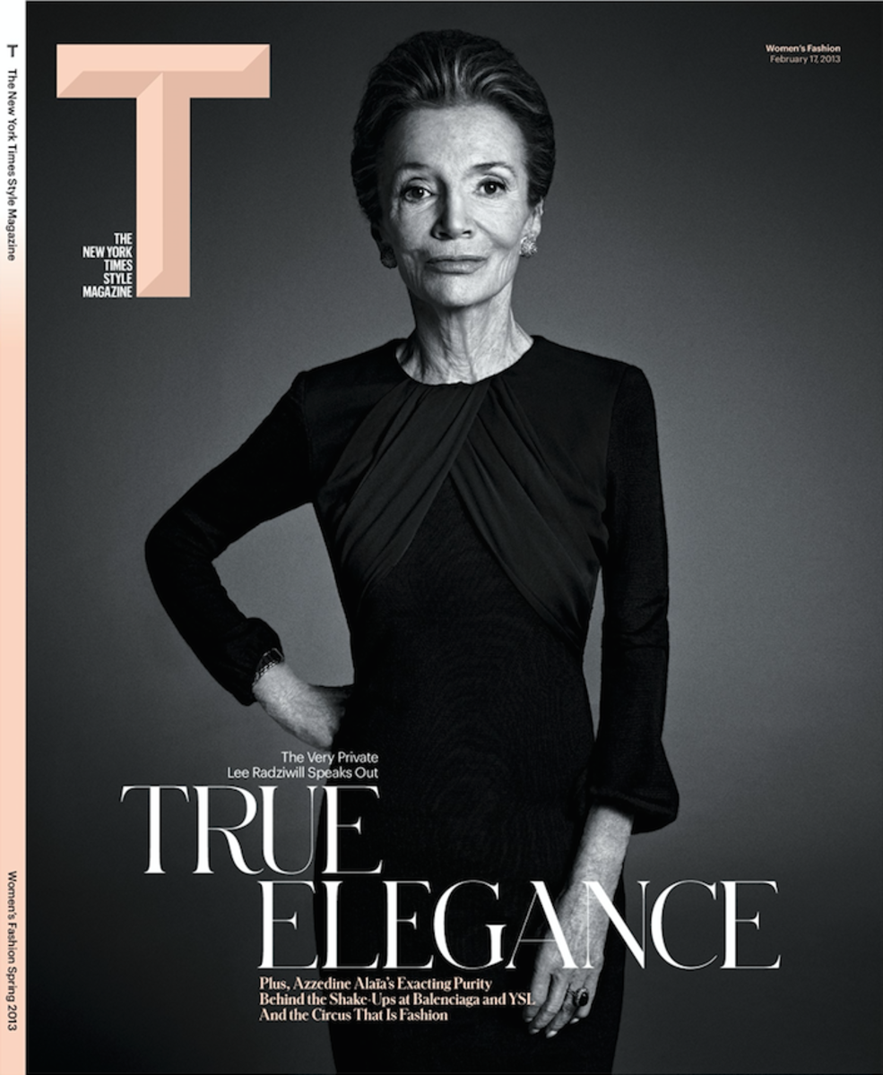Lee Radziwill on Deborah Needleman's first issue of T: The New York Times Style Magazine with Li's custom 'T' logo. Photo: The New York Times