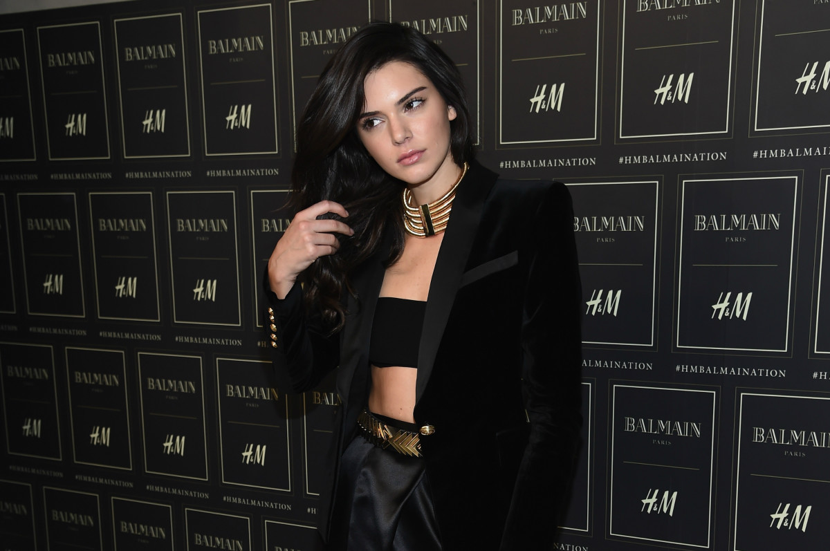 Kendall Jenner at Balmain for H&M's collection launch in New York City. Photo: Dimitrios Kambouris/Getty Images