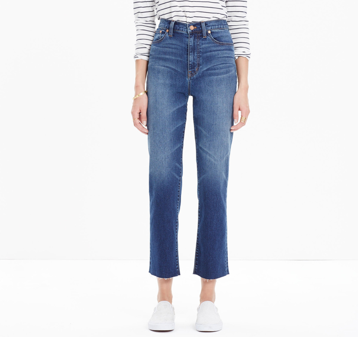 "Madewell 11"" high riser crop flares, $135, available at Madewell."
