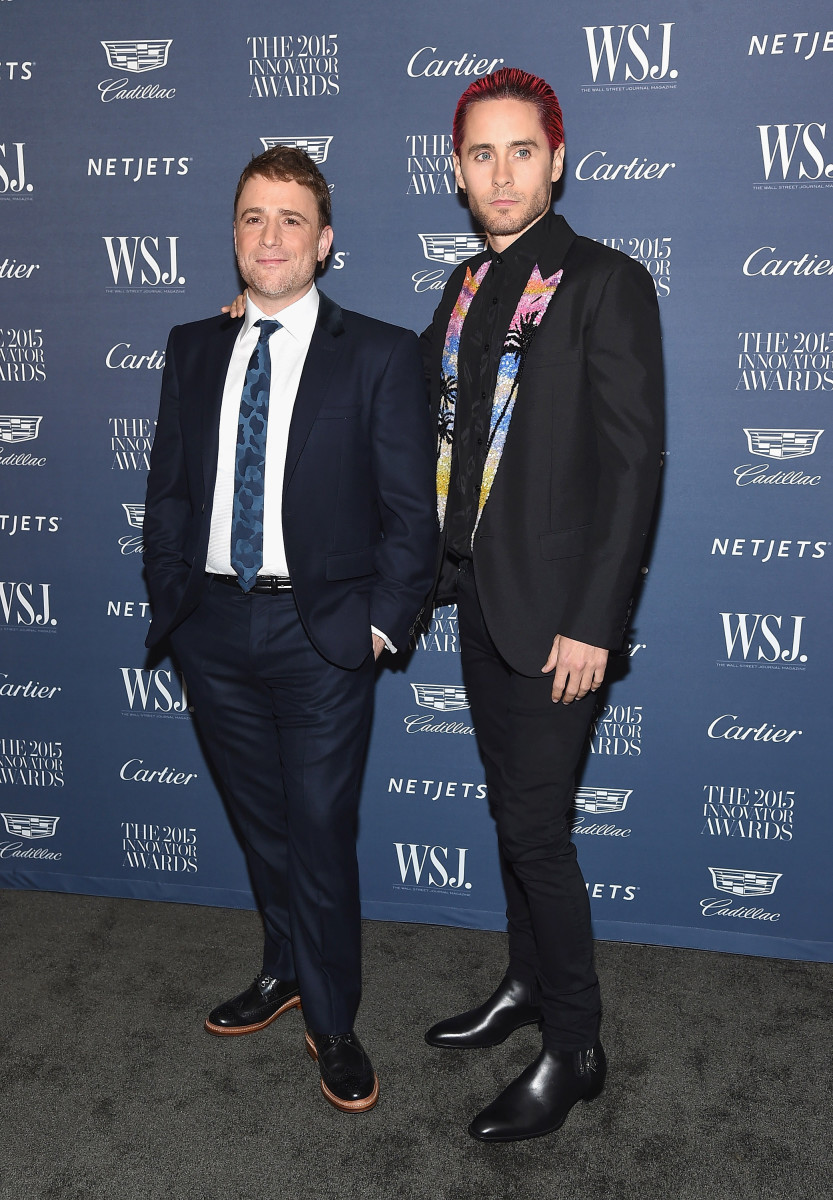 Jared Leto with businessman Stewart Butterfield at the 2015 'WSJ' Magazine Innovator Awards in New York City on Wednesday. Photo: Gary Gershoff/WireImage