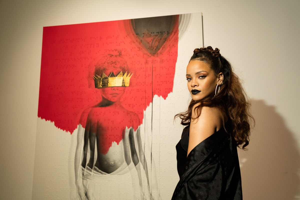 Rihanna at an unveiling of her latest album's artwork in October. Photo: Christopher Polk/Getty Images
