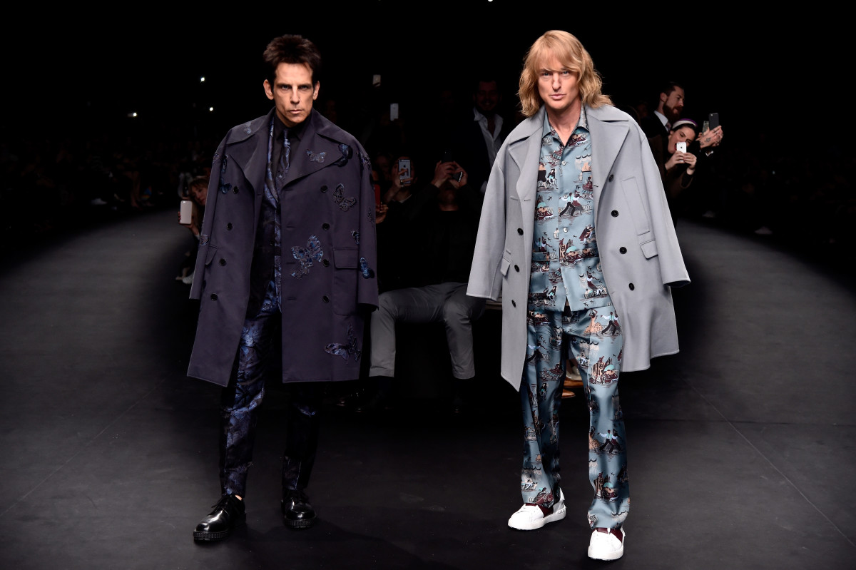Derek Zoolander and Hansel close the Valentino fall 2015 runway show at Paris Fashion Week. Photo: Pascal Le Segretain/Getty Images