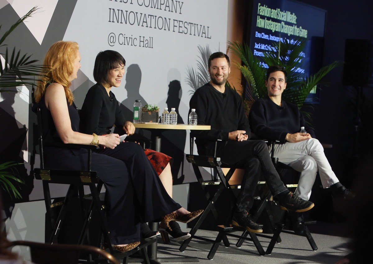 Fast Company Senior Editor Erin Schulte with Head of Fashion Partnerships at Instagram Eva Chen and fashion designers Jack McCollough and Lazaro Hernandez of Proenza Schouler at the Fast Company Innovation Festival in New York City. Photo: Monica Schipper/Getty Images
