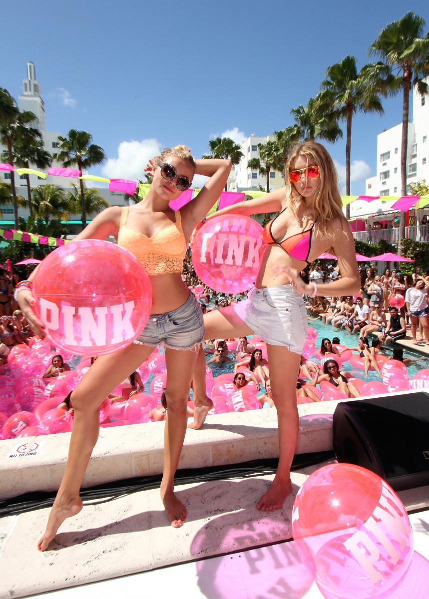 First-time Victoria's Secret Fashion Show walkers Rachel Hilbert and Gigi Hadid. Photo: John Parra/Getty Images