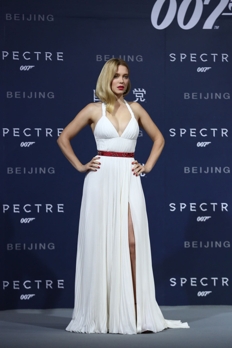 "Léa Seydoux in Prada at ""Spectre""'s Beijing, China premiere on Thursday. Photo: Prada"