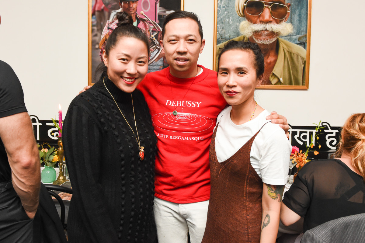 "Opening Ceremony's Carol Lim and Humberto Leon and Nordstrom's Olivia Kim gathered to celebrate ""Pop-In@Nordstrom x Opening Ceremony"" at Babu Ji in Manhattan's East Village on Thursday evening. Photo: Neil Rasmus/BFA"