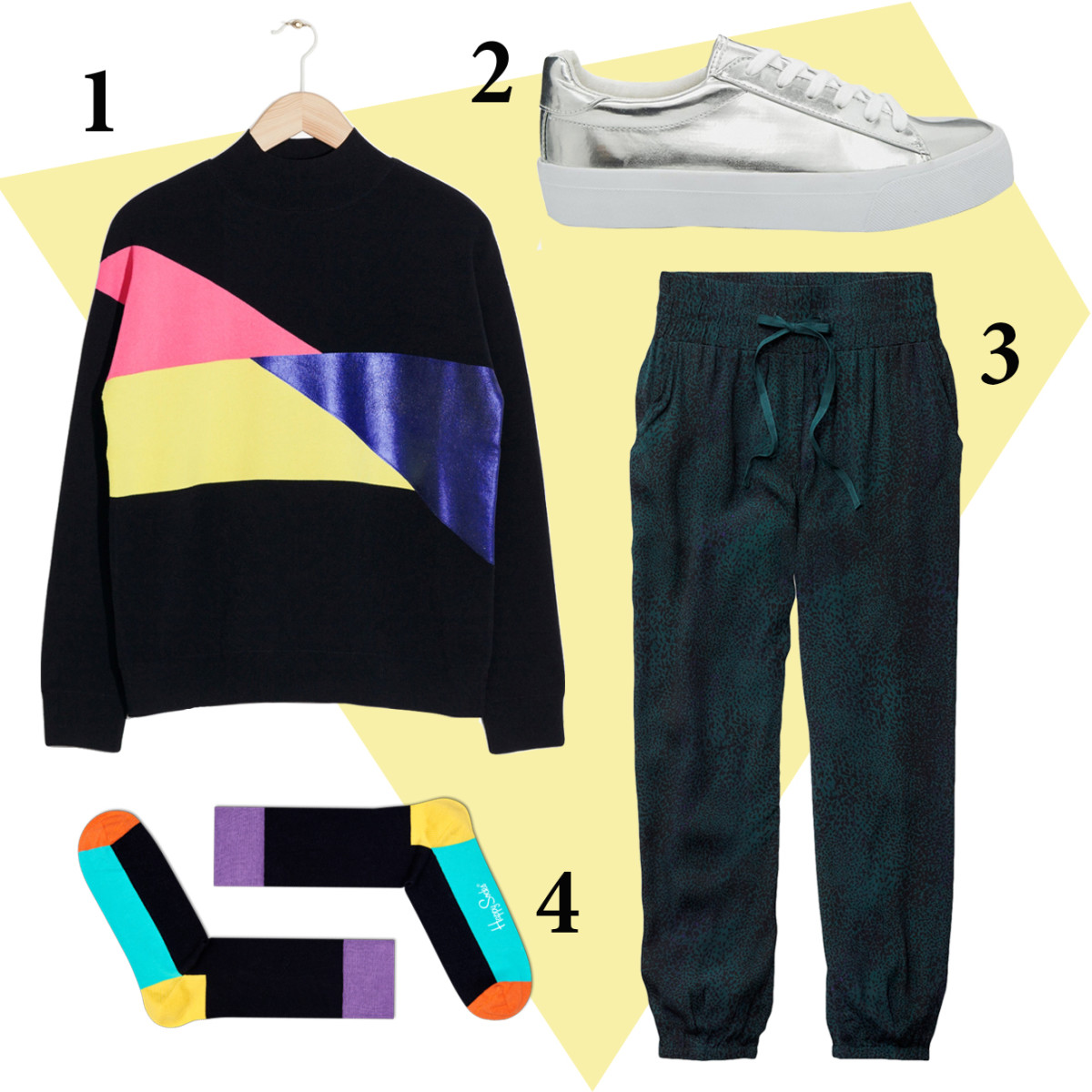 1 — & Other Stories color block knit sweater, $125, available at & Other Stories; 2 — Asos sneakers, $36, available at Asos; 3 — Talula Bayan pant, $70, available at Aritzia. 4 — Happy Socks five color socks, $12, available at Happy Socks.