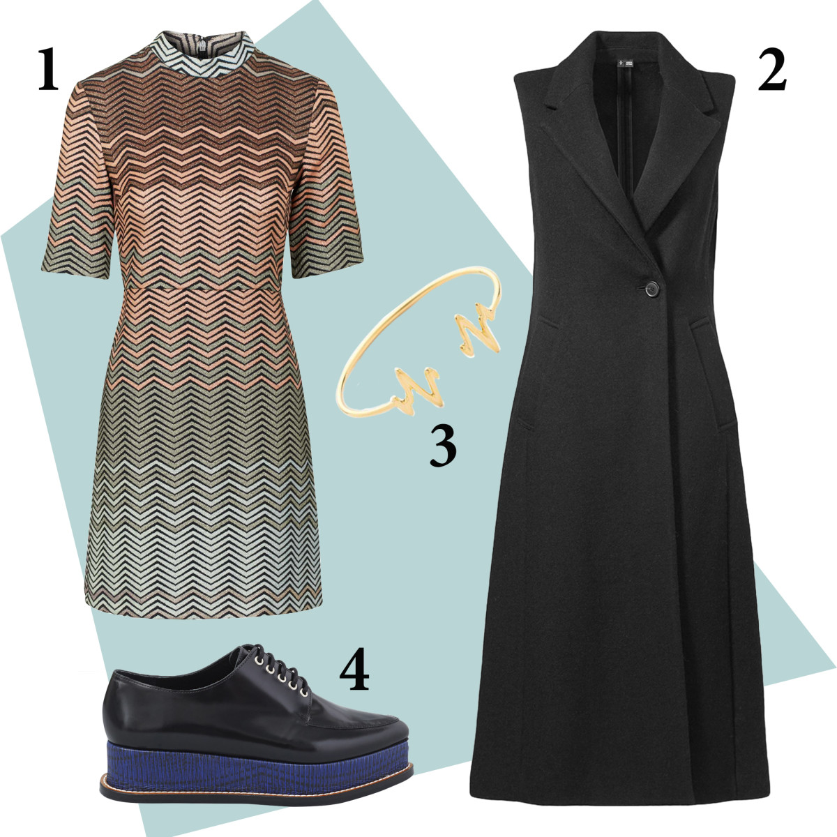1 — Topshop dress, $110, available at Topshop; 2 — Theory Tremayah vest, $625, available at Barneys; 3 — Sarah Chloe bracelet, $139, available at Shopbop; 4 — Opening Ceremony oxfords, $445, available at Opening Ceremony and Nordstrom.