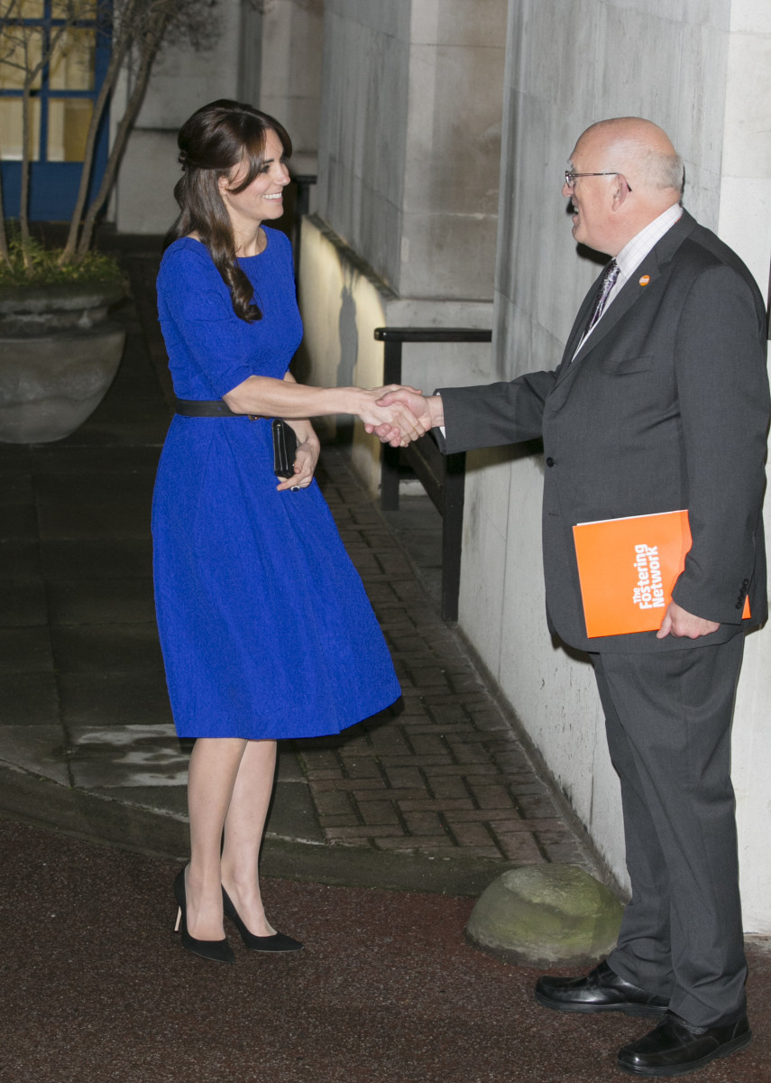 Duchess Catherine of Cambridge and Kevin Williams, chief executive of The Fostering Network, at the BMA House. Photo: John Philliips/Getty Images