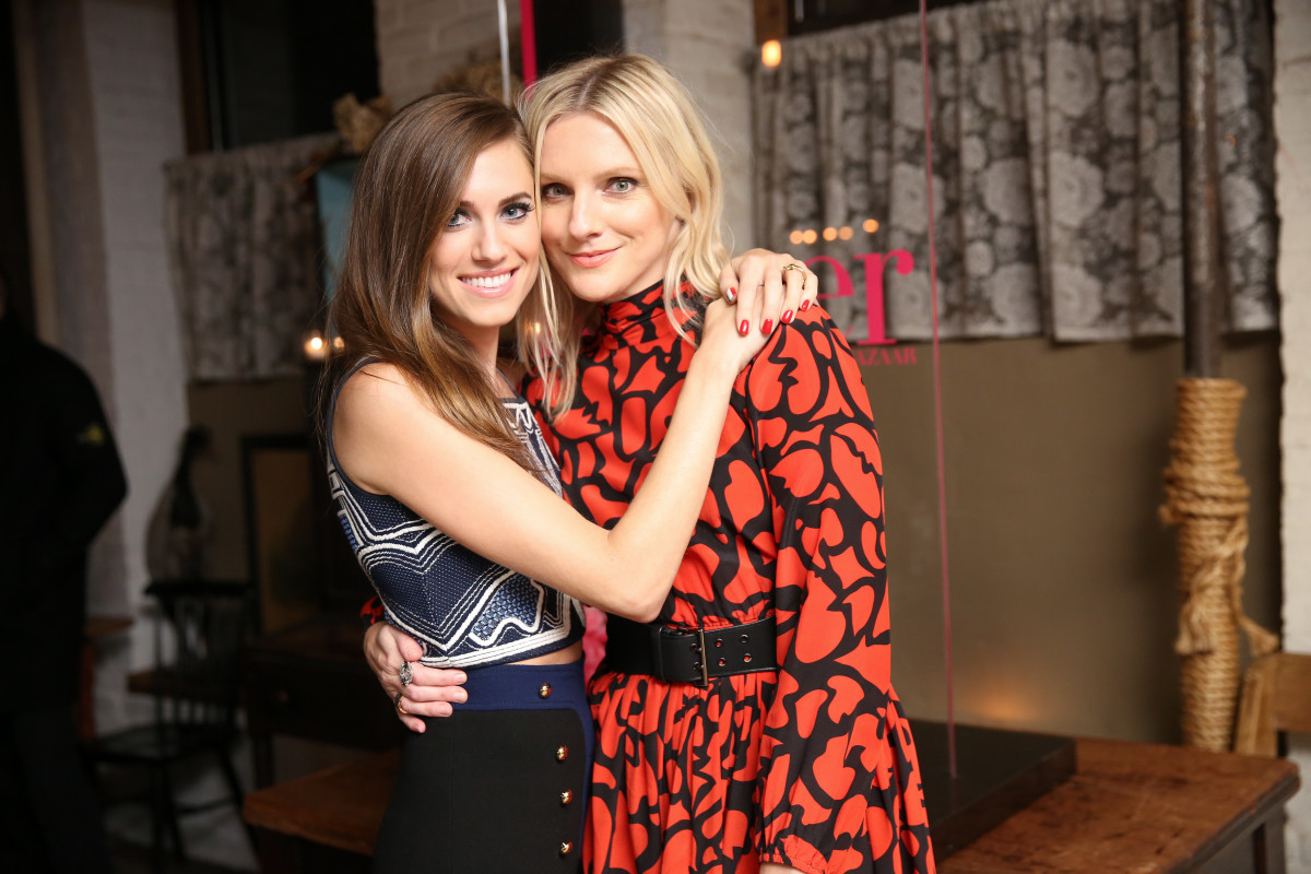 Allison Williams and Harper's Bazaar Executive Editor Laura Brown at the harper by Harper's Bazaar celebration at Freemans. Photo: BFA