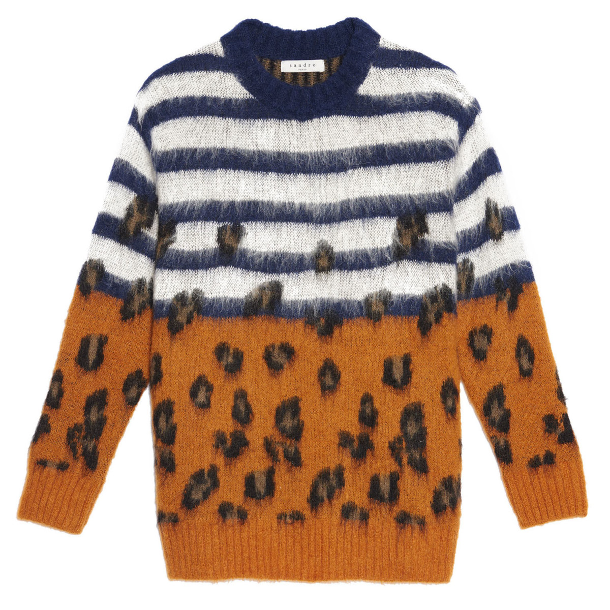 Sandro's fall sale is up to 50 percent off. Sandro sweater, now $328, available at Sandro.