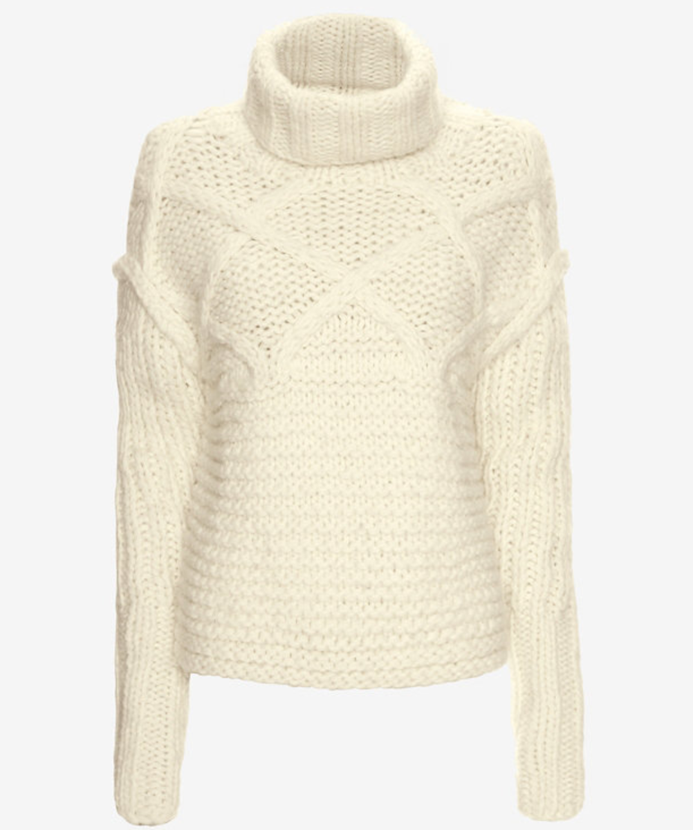 Apiece Apart fisherman stitch sweater, $279, available at Intermix.