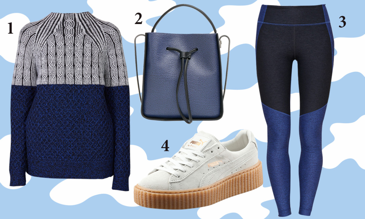 1 — Proenza Schouler turtleneck sweater, $495, available at Opening Ceremony; 2— 3.1 Phillip Lim bucket Bag, $925, available at Nordstrom; 3 — Outdoor Voices leggings, $95, available at Outdoor Voices; 4 — Puma by Rihanna creepers, $120, available at Opening Ceremony.
