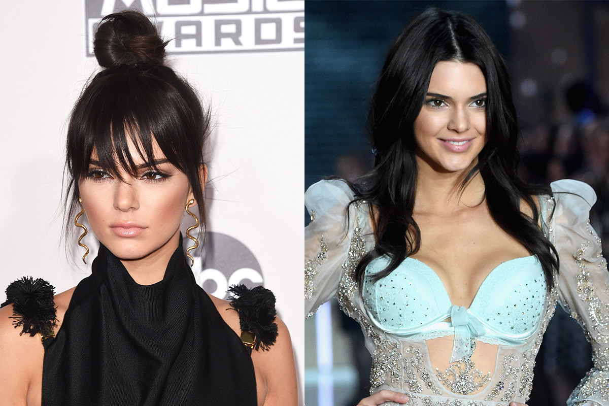 Stop asking me about my bangs or I will cut you with my cheekbones — Kendall. Photos: Jason Merritt & Jamie McCarthy/Getty Images