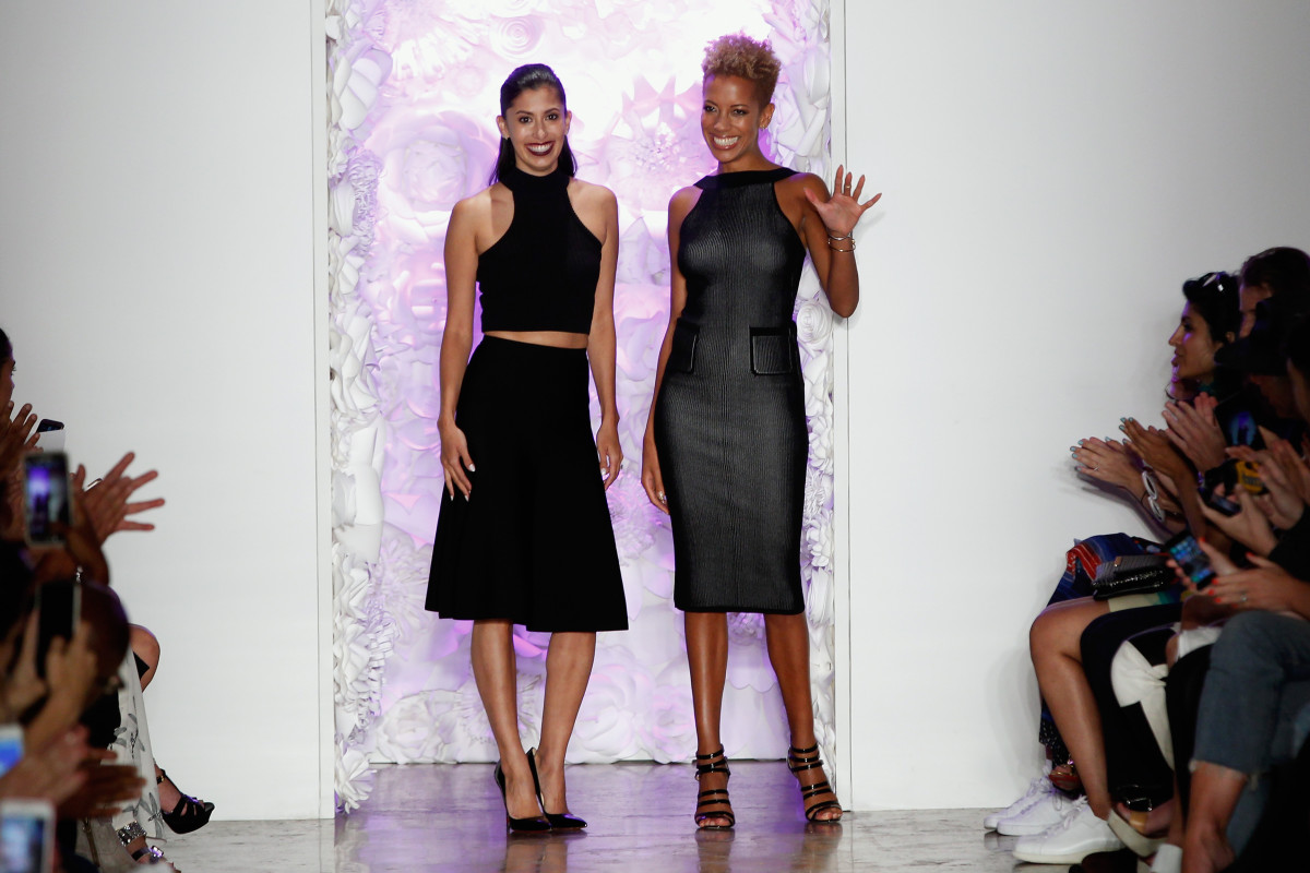 Designers Michelle Ochs and Carly Cushnie at New York Fashion Week. Photo: Joe Kohen/Getty Images