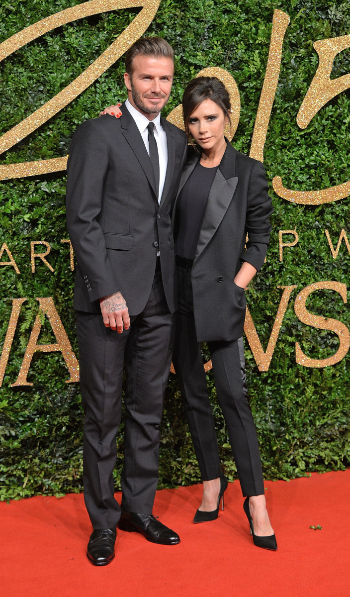 Matching suits for David and Victoria Beckham at the British Fashion Awards 2015 in London. Photo: Anthony Harvey/Getty Images