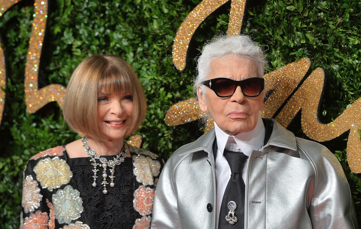 Anna Wintour and Karl Lagerfeld at the British Fashion Awards on Monday. Photo: Anthony Harvey/Getty Images