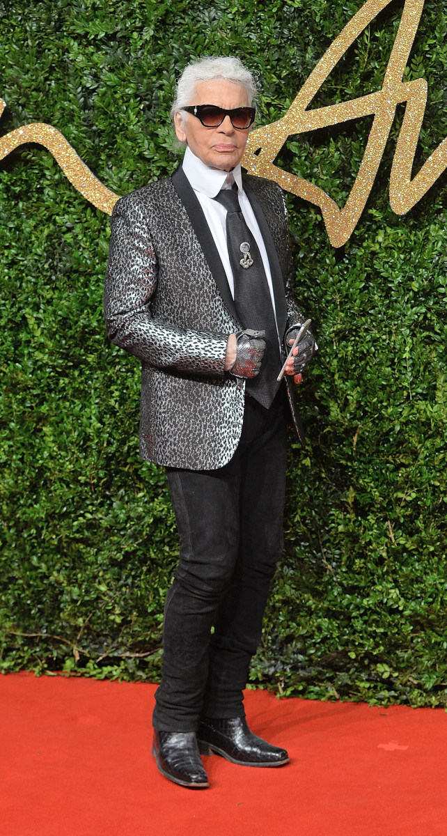 Karl Lagerfeld at the 2015 British Fashion Awards. Photo: Anthony Harvey/Getty Images