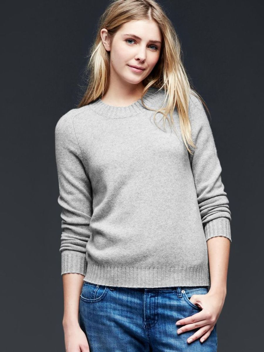 Gap cashmere crewneck sweater, $148, available at Gap.