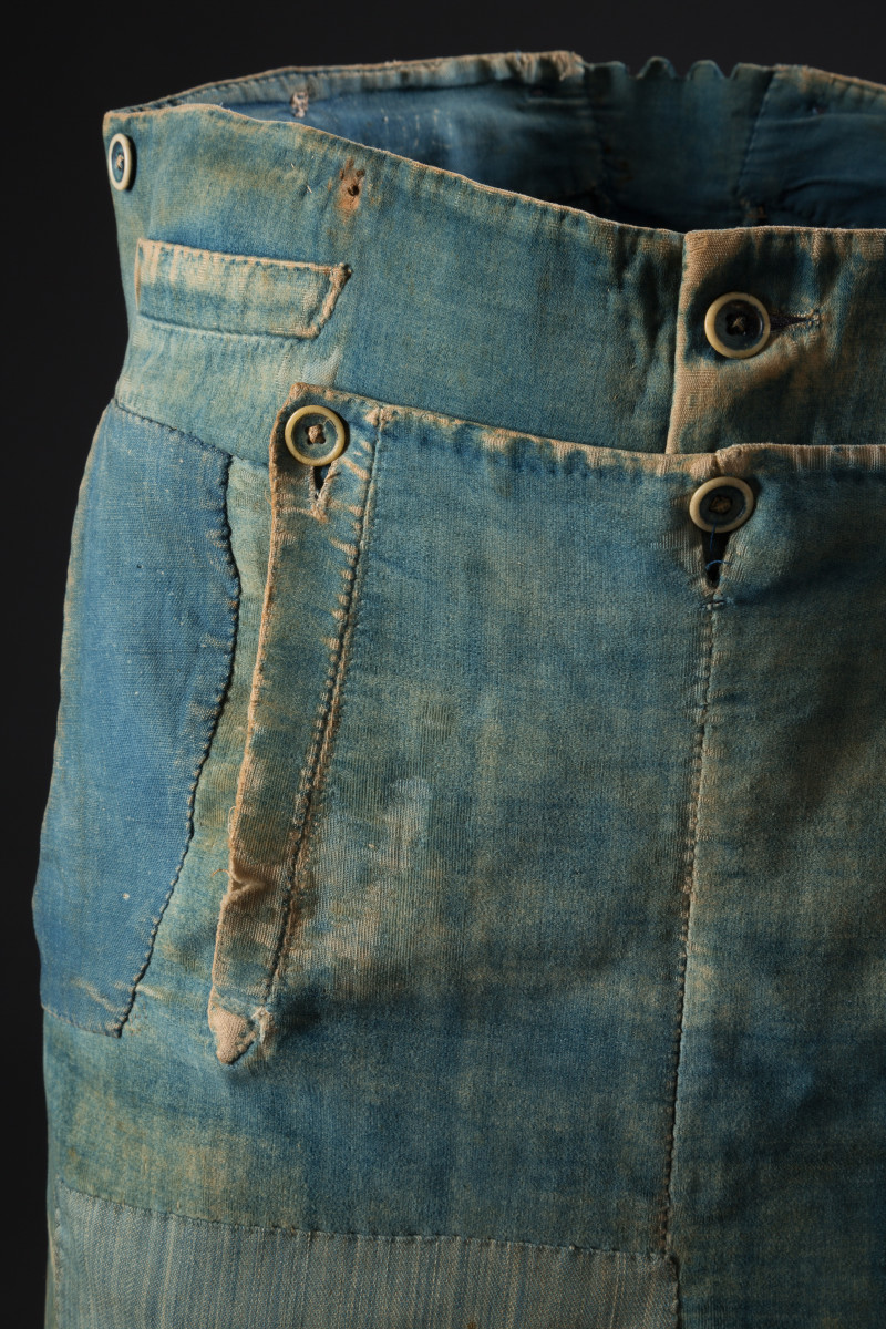 Men's denim and brushed cotton work pants, circa 1840. Photo: The Museum at FIT