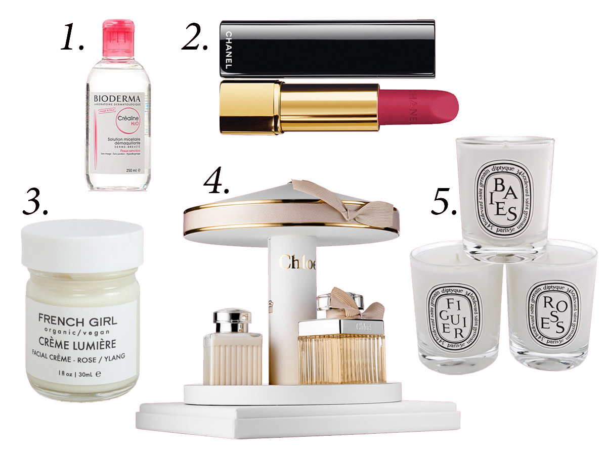 1. Bioderma crealine, $18.18, available at Amazon. 2. Chanel rouge allure velvet in 'La Merveilleuse,' $36, available at Nordstrom. 3. French girl moisturizer, $24, available at Catbird. 4. Chloé carousel gift set, $140, available at Sephora. 5. Diptyque votive candle set, $90, available at Nordstrom.