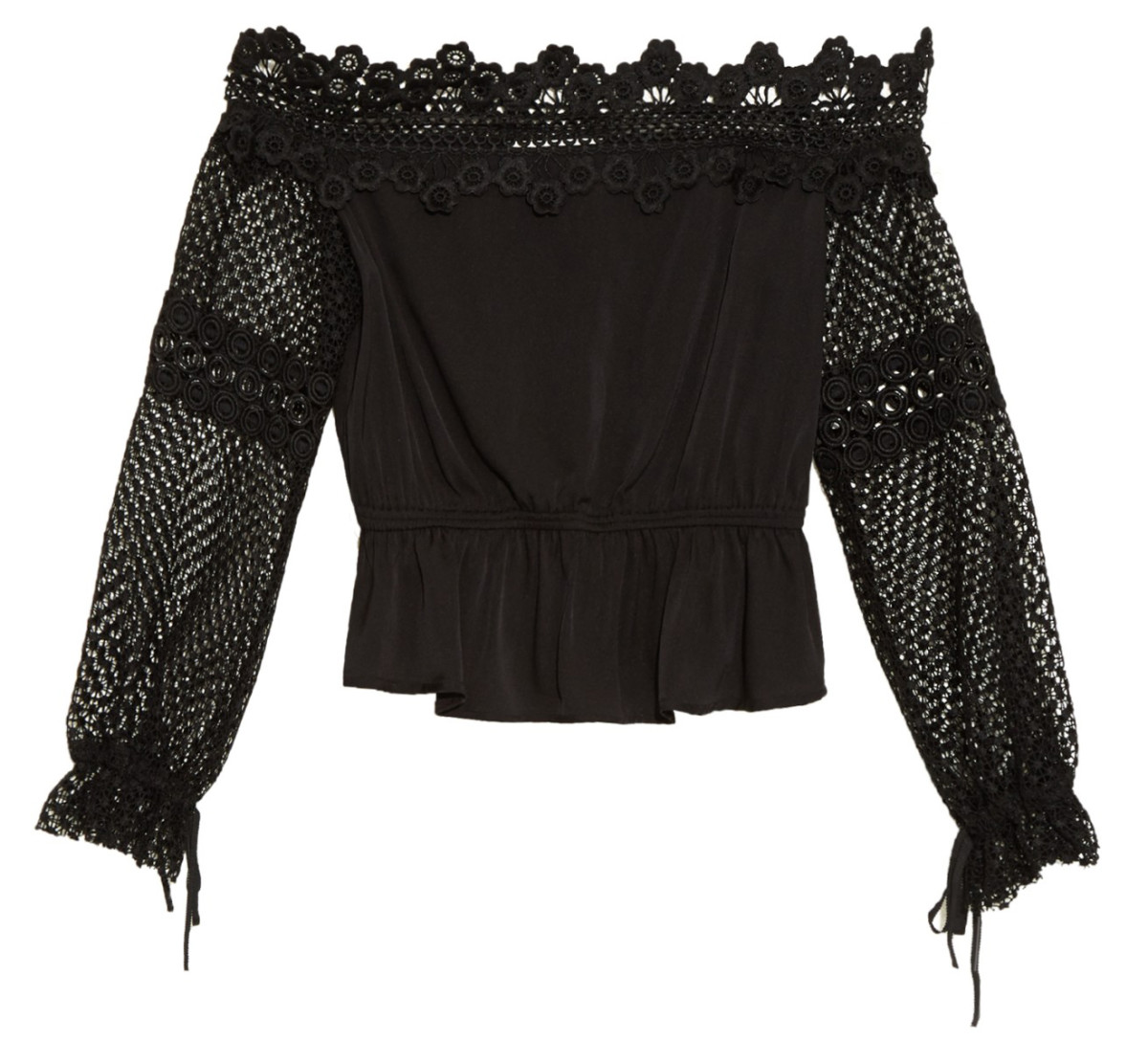 Self Portrait lace-trimmed top, $240, available at Matches Fashion; $340, available at Neiman Marcus and Bergdorf Goodman.